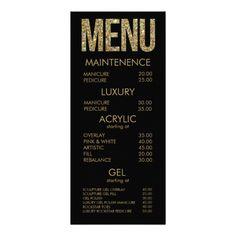 Black & Gold Glitter Typography Salon Menu Cards Full Color Rack Card