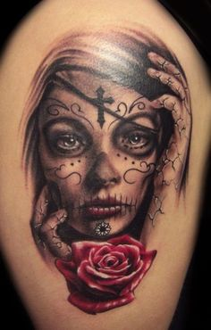 Beautiful Black & White Sugar Skull Tat With Red Rose