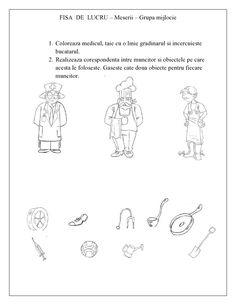 FISE de lucru cu Meserii pentru copiii de gradinita - Grupa MIJLOCIE | Fise de lucru - gradinita