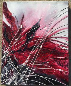 Červená malba, napínané plátno, originální olejová malba 20 v X 16 v X 1,5 palce