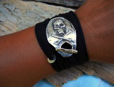 Skull & Crossbones Jewelry, Pirate Flag, Tattoo Inspiration Wrap Bracelet by HappyGoLicky, $49.50 Use coupon code PIN10 for 10% off #pirates of the Caribbean #unique #toggle #tattoo #black#custom #silver #jewelry #Sterling #silver #fine #silver #wrap #bracelet #personalized #jewelry #gifts #midnight #jet #coal #ink #black