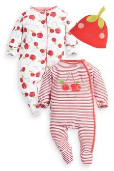 Two Pack Cherry Sleepsuits With Hat (0mths-2yrs)