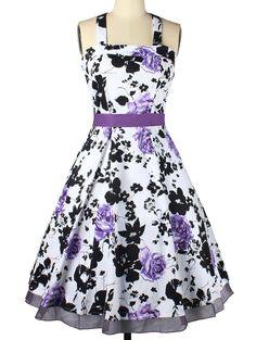 Vintage Halter Neck Bowknot Floral Dress For Women - PURPLE S