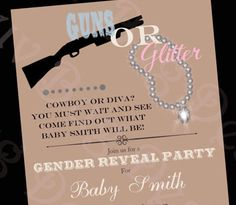 this is cute since robbie like guns lol the people in your event page on fb can change their profile pic to a picture I can post of a gun or diamond on the day of the reveal to cast their vote!   gender reveal party ideas | Updating Gender Reveal Baby Showers for 2013