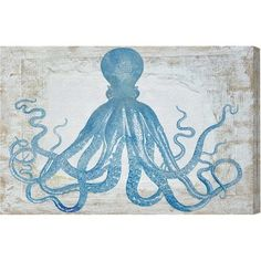 """Oliver Gal Squid Blue Graphic Print on Canvas Size: 40"""" H x 60"""" W"""
