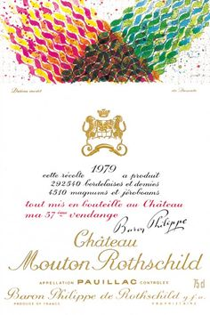 1979 Chateau Mouton-Rothschild label by Hisao Domoto. #Wine / His design for the 1979 Mouton Rothschild label is a brilliant example of his third period. This is the first label to have been commissioned from a Japanese artist.