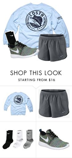 """Somebody plzzz buy me some Roshes"" by madelynprice ❤ liked on Polyvore featuring Costa and NIKE"
