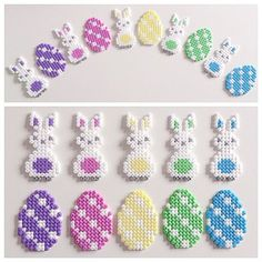 Easter decorations hama perler beads by barnslig_interior… by DeeDeeBean- Lisa Kirsch Hama Beads Design, Diy Perler Beads, Perler Bead Art, Pearler Beads, Fuse Beads, Perler Bead Designs, Pearler Bead Patterns, Perler Patterns, Seed Bead Patterns