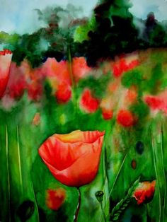 Poppy Trio (2 of 3), watercolor