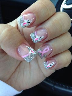 Ghost nail art with Breast Cancer Ribbon RIP MAMA