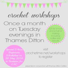 Crochet workshops in Surrey, England.
