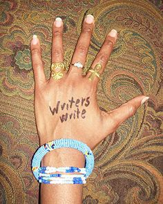 Writing Advice on Writers' Hands... ***what a great idea to help me remind myself!
