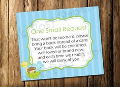 Printable Noahs Ark Boy Baby Shower Book Request Cards - Instant Download