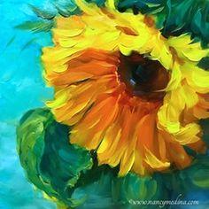 Sun Star Sunflower is an original oil painting on archival panel.