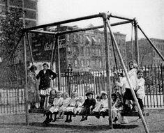 1950 Rock a Bye Swing | Rock-a-Bye Swing?De Witt Clinton Park Playground, circa 1911. Courtesy ...