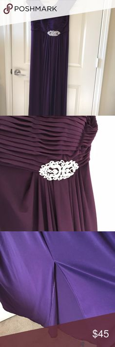 """Patra Plum Maxi Dress with Shawl Collar Partra  Plum Maxi Dress with shawl collar, pleated gathering midriff & CZ Jeweled Appliqué.  Size 8, Front small Slit from the Knee Down.  Fully Lined, zippered Back. Wore it for my Daughter's Wedding.  So Pretty.  I  Am 5'3"""". Patra Dresses Maxi"""
