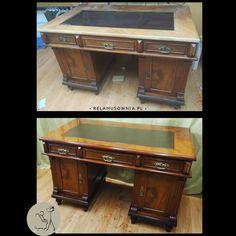 Wykonaliśmy pełną renowację blatu biurka, uzupełniono ubytki forniru, położono nową politurę i została wstawiona nowa skóra. Pozostałe elementy biurka zostały poddane konserwacji. #pracowniarelamusownia #antyki #biurko #politura #skórzanyblat #antiques #antiquefurniture #furniturerestorations #staremeble #starymebel #mebleantyczne #oldfurniture #vintage #renowacjamebli #polish Office Desk, Corner Desk, Furniture, Vintage, Home Decor, Corner Table, Desk Office, Decoration Home, Desk