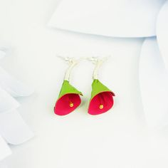 Green lily flower earrings green earrings red floral