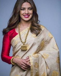 Buy this Bollywood Style Priyanka Chopra Beige Banarasi Silk Saree For Ladies for upcoming wedding events, engagements, receptions at affordable rates from drapino fashion - India's growing online ethnic store for women Bollywood Designer Sarees, Bollywood Saree, Bollywood Fashion, Indian Bollywood, Indian Sarees, Silk Sarees, Cotton Saree, Kerala Saree Blouse, Chanderi Silk Saree