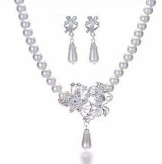 Pearl Earring Necklace Set - 786shop4you