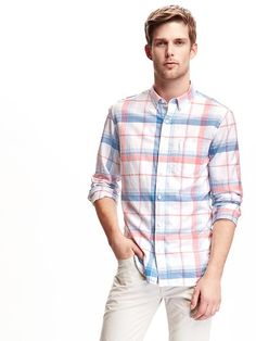 Slim-Fit Summer-Weight Oxford Shirt for Men