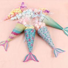 Mermaid Gift Bags Little Mermaid Party Candy Bags Kids Birthday Favor Bags Birthday Gift Bags, Party Gift Bags, Birthday Treats, Diy Birthday, Birthday Party Favors, Party Favours, Little Mermaid Gifts, Little Mermaid Parties, Mermaid Party Favors