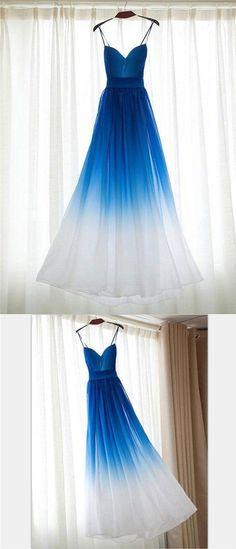 Chiffon Blue Gradient Beautiful Popular Unique Prom Dresses, Party Dress,