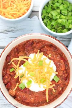 """2.5 hours · Serves 16 · This recipe will leave your friends and family exclaiming """"that is the best chili ever""""! With many layers of flavor, it will not disappoint! Delicious Dinner Recipes, Yummy Appetizers, Appetizers For Party, Ground Sirloin, No Bean Chili, Dessert, 5 Hours, Snacks, Chili Recipes"""