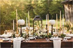 Elegant Thanksgiving Table Settings With Black Lantern Candle Holder And White Flowers Centerpiece As Well As Christmas Table Centerpiece Ideas And Table Place Setting Ideas, Beautiful Dining Room Table Christmas Centerpieces Design Ideas Photo: Dining Room, Furniture