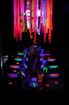glow in the dartk party ideas for the table