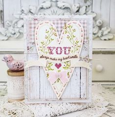 Stitched Sentiments Revisited: You Always Make My Heart Smile Card by Melissa Phillips for Papertrey Ink (January 2016)