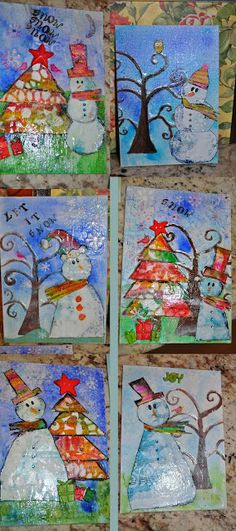 Mixed Media Snowmen!! With instructions and printables!
