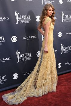 It's impossible not to love Taylor Swift's embroidered lemon gown at the ACMAs. The elegantly sleek silhouette lead into a dramatic train. Taylor's glamorous curls completed this flawless look.   Brand: Elie Saab Couture