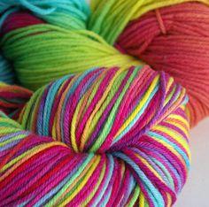 Rainbow Wool Yarn: Hand Painted Organic Merino, 4 oz. (Worsted, For Knitting and/ or Felting)