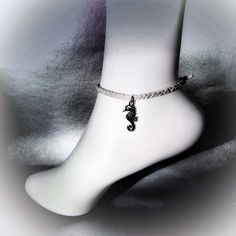 Handemade bohemian mermaid inspired anklet sea horse silver boho bohemian suede