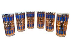 Blue & Gold Culver Glasses, S/6 on One Kings Lane