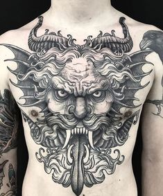Search inspiration for a Blackwork tattoo. Tattoo Thor, 1 Tattoo, Tattoo Life, Tattoo Drawings, Torso Tattoos, Body Art Tattoos, Sleeve Tattoos, Blackwork, Dragon Tatto
