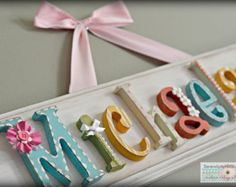 Charming heirloom quality custom embellished name plaque signs are completely personalized & made to order, specifically to fit your childs