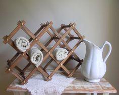 spa towel storage. Accordion Wine Rack / Repurpose As A Spa Towel Or Magazine Stand Vintage Folding Wood Storage Organizer