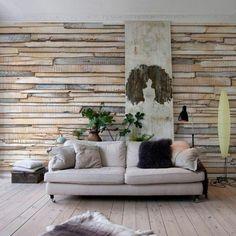papier peint mural effet matières imitant des planches en bois