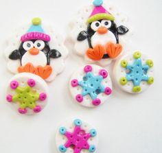 Button Winter Penguin handmade polymer clay by digitsdesigns