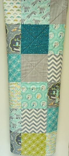 Baby Boy Quilt, Modern Mint and Navy Blue with Gray Woodland Baby Quilt-Buck… Sewing Crafts, Sewing Projects, Baby Boy Quilts, Baby Crafts, Baby Decor, Baby Love, Quilt Patterns, Quilting Ideas, Quilt Blocks