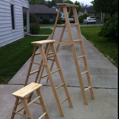 Wooden ladders for store display