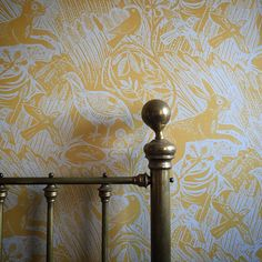 """A bedroom in York featuring Mark Hearld's """"Harvest Hare"""" wallpaper Yellow Interior, Interior And Exterior, Old Home Remodel, Sunflower Wallpaper, Bedroom Decor, Wall Decor, Grey Art, Gold Walls, Print Wallpaper"""