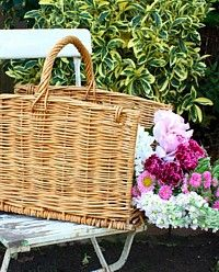 Vintage Brocante French Willow Carrying Basket-antique,flea market,linens, gardening,