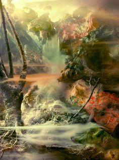 Kim Keever est un artiste américain qui reconstitue d\\\'incroyables paysages ressemblant à des peintures.Pour créer ces photographies, l\\\'artiste construit le paysage dans un grand aquarium et rajoute divers accessoires comme des branches ou de la mousse.Ensuite, Kim Keever dispose tout autour des lumières colorées et dispersent des pigments.Enfin, l\\\'artiste recouvre ...
