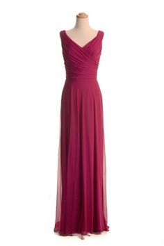 $119.00 Sweet V Neck Floor Length Ruched Bridesmaid Dress For Women