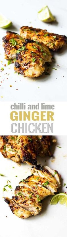 Ginger, Chilli Lime Chicken! Juicy chicken thighs are marinated in lime juice, chilli, ginger and garlic then grilled to perfection! They're perfect for dinner parties, BBQ, or for a weeknight meal! Get the recipe at nutritionistmeetschef.com