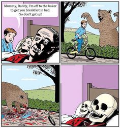 funny photos, comic boy get bread eaten bear parents die Best Funny Pictures, Funny Images, Funny Photos, Jokes Photos, Rage Comics, Funny Comics, Troll, Memes, Breakfast In Bed
