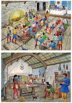 Au Moyen-Age - Salle des banquets et cuisine du château fin du Moyen-Age (1490)